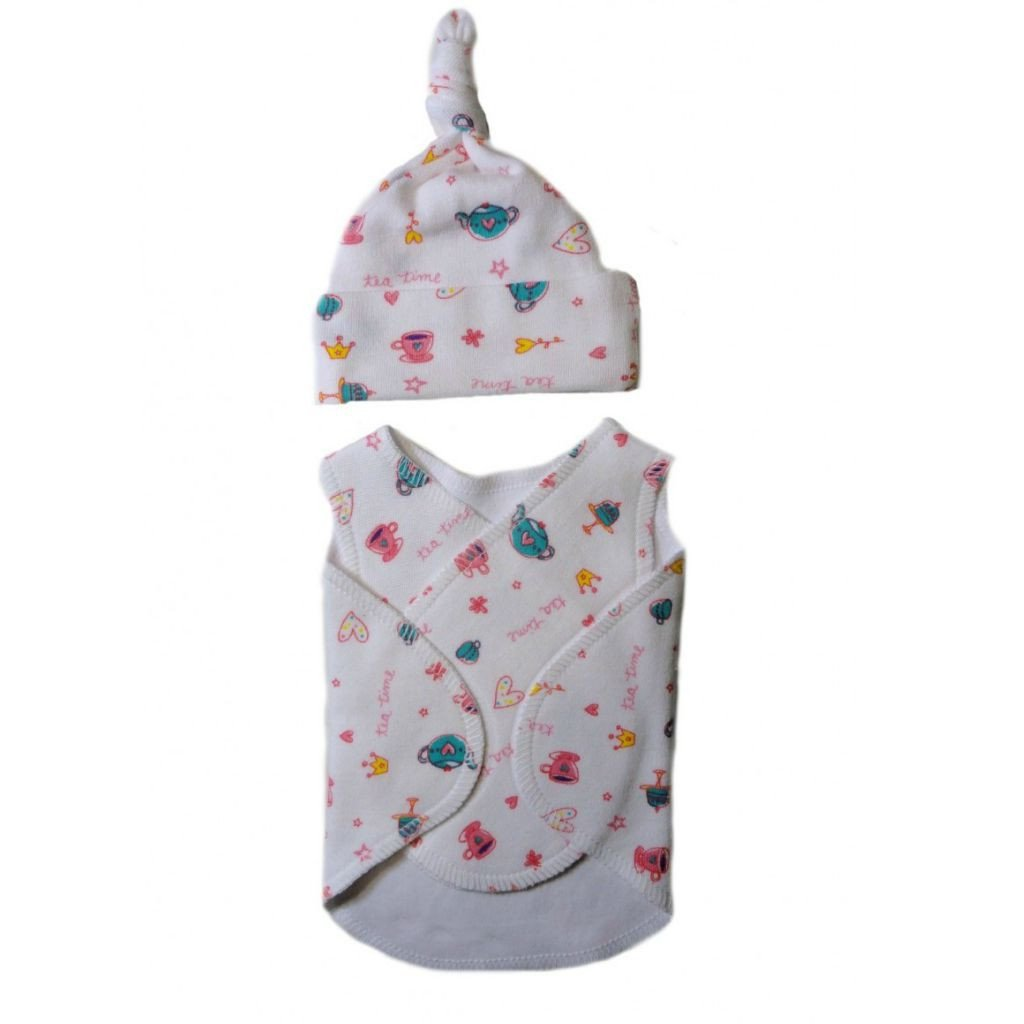 Jacquis Baby Girls Tea Time Snuggler Wrap Set