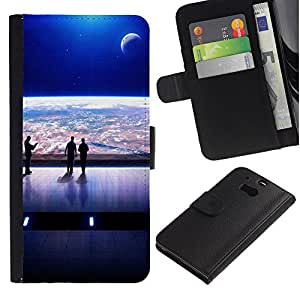 Billetera de Cuero Caso Titular de la tarjeta Carcasa Funda para HTC One M8 / Spaceship View Futurism Art Earth Universe / STRONG