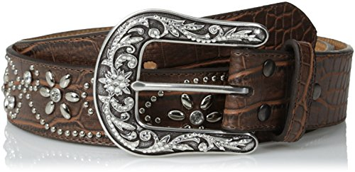 Ariat Women's Caiman Print Floral Stud Belt, brown, Small