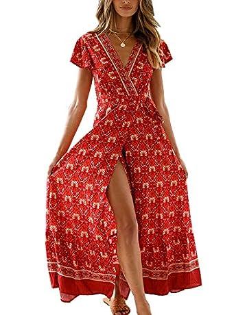 481c117282cf PRETTYGARDEN Women's Summer V Neck Wrap Vintage Floral Print Short Sleeve  Split Belted Flowy Boho Beach