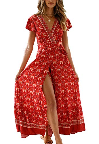 PRETTYGARDEN Women's Summer V Neck Wrap Vintage Floral Print Short Sleeve Split Belted Flowy Boho Beach Long Dress (130 Red, Medium)