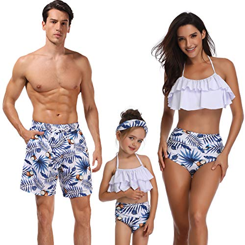 Ababalaya Dady and Me Matching Family Swimsuits Father and Son Bikini Bathing Suit Beachwear Sets, Blue Leaf, Dad, Large