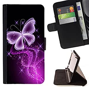 For Samsung Galaxy S6 Butterfly Glitter Glittering Black Neon Purple Style PU Leather Case Wallet Flip Stand Flap Closure Cover