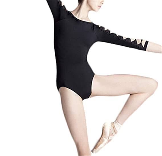 91087b24a813 Adult Girl Long Sleeve Practice Dance Leotard Sexy Backless Unitard ...
