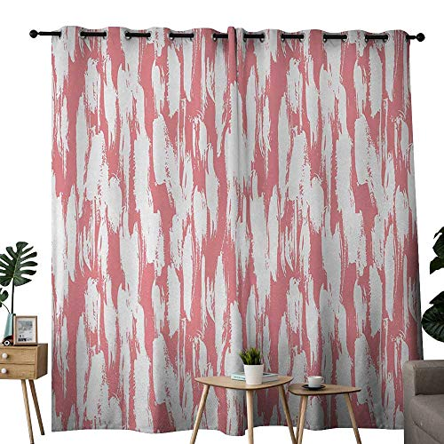 """Beihai1Sun Blackout Curtain Abstract Hipster Style Inspirations Brush Stroke Stripes Watercolor Paint Smears Vintage Grommet Curtains for Bedroom 72"""" W x 107"""" L Coral White"""
