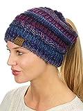 C.C BeanieTail Soft Stretch Cable Knit Messy High Bun Ponytail Beanie Hat, Purple Tribal Blend