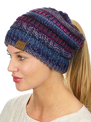 (C.C BeanieTail Soft Stretch Cable Knit Messy High Bun Ponytail Beanie Hat, Purple Tribal Blend)