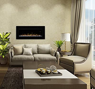 "DIMPLEX Nicole 43"" Electric Fireplace Wall-Mounted with Acrylic Ember Bed, Black Finish"