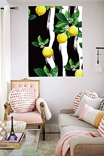 Lemon Tree Tapestry Wall Hanging Leaf Vintage Floral Pattern Botanical Ornamental Watercolor Fruit Lemon White Tree Feminine Decor Tapestries Art 40×60 Inches DBZY245