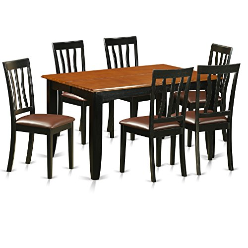 East West Furniture PFAN7-BCH-LC 7 Piece Dining Table and 6 Solid Wood Chairs Set