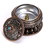 Hipiwe Incense Holder Burner with Ash Catcher (Stick/Cone/Coil Incense),Censer Stick Plate Holder Incense Burner Sandalwood Furnace with Incense Burner Holder(Red Bronze)