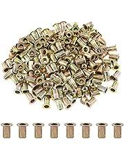 Glarks 100Pcs 8-32UNC Zinc Plated Carbon Steel Flat Head Rivnut Threaded Insert Nuts Set (8-32UNC)