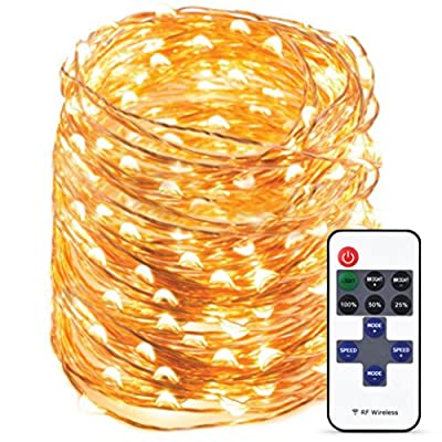 Tronixtar Indoor LED String Lights - 300 LED Warm White Bright Lights - 99 Ft Flexible Copper Wire Remote Control With 11 Brightness Modes & Timer - Durable String Lights For Trees, Home Décor