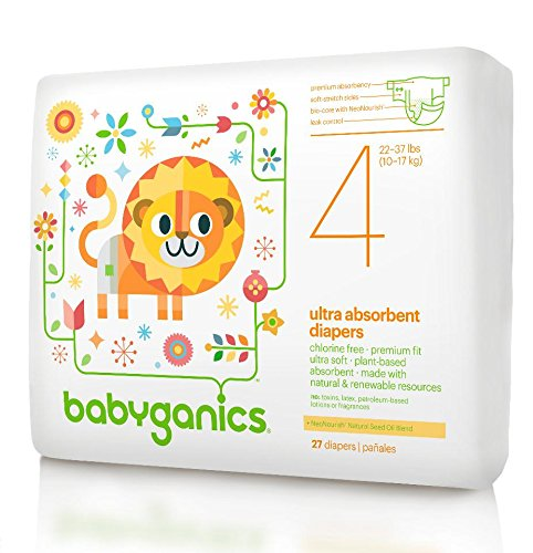 Babyganics Ultra Absorbent Diapers, Size 4, 27 Count