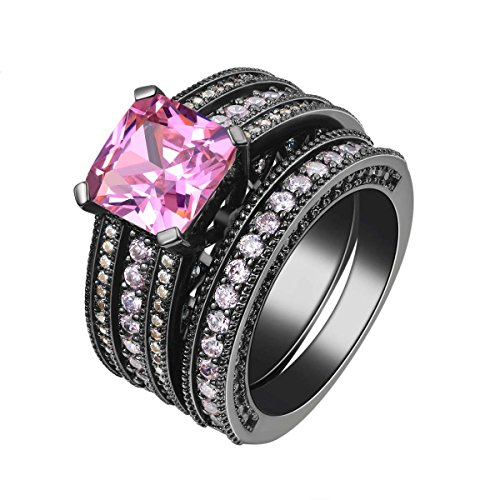 Womens Princess Cut Pink Stone Cubic Zirconia Black Gold Vintage Sapphire Solitaire Wedding Band Engagement Ring Set