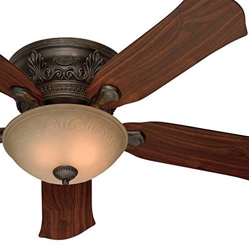 Roman Bronze Ceiling Fan Light (Hunter Fan 52-Inch Low Profile Roman Bronze Finish Ceiling Fan with Tea Stain Glass Light Kit (Certified Refurbished))