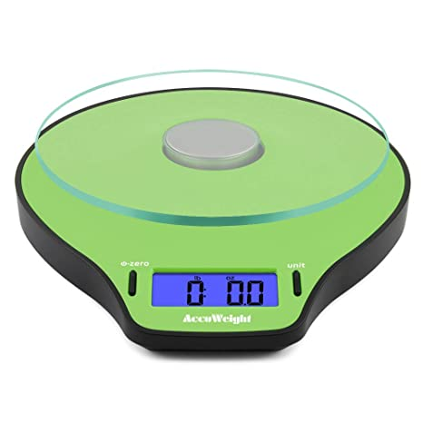 Accuweight Báscula de Cocina digital, Peso de Cocina, 5 Kg max, Vidrio,
