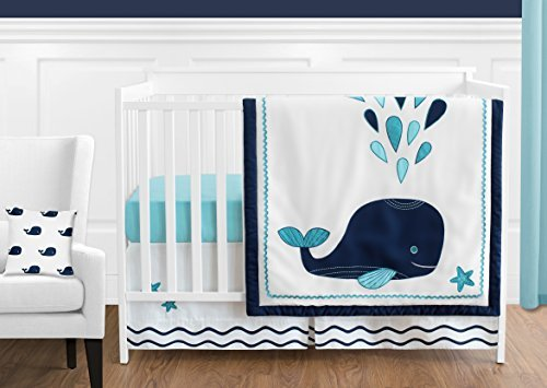 Sweet Jojo Designs 11-Piece Turquoise, Navy Blue and White Whale Nautical Ocean Baby Boys or Girls Crib Bedding Set Without Bumper