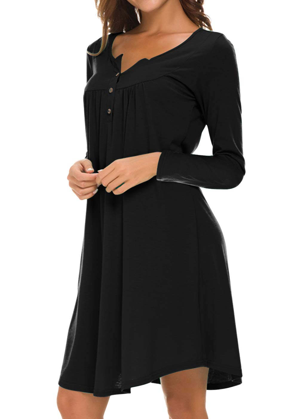 Eanklosco Long Sleeve Swing Dress Women Casual Loose Henley Shirt Dress (Black, M)