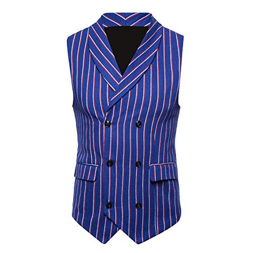 TANGSen Fashion Men's Autumn Winter Sleeveless Plus Size Striped Suit Vest Double-Breasted Casual Jacket Blouse