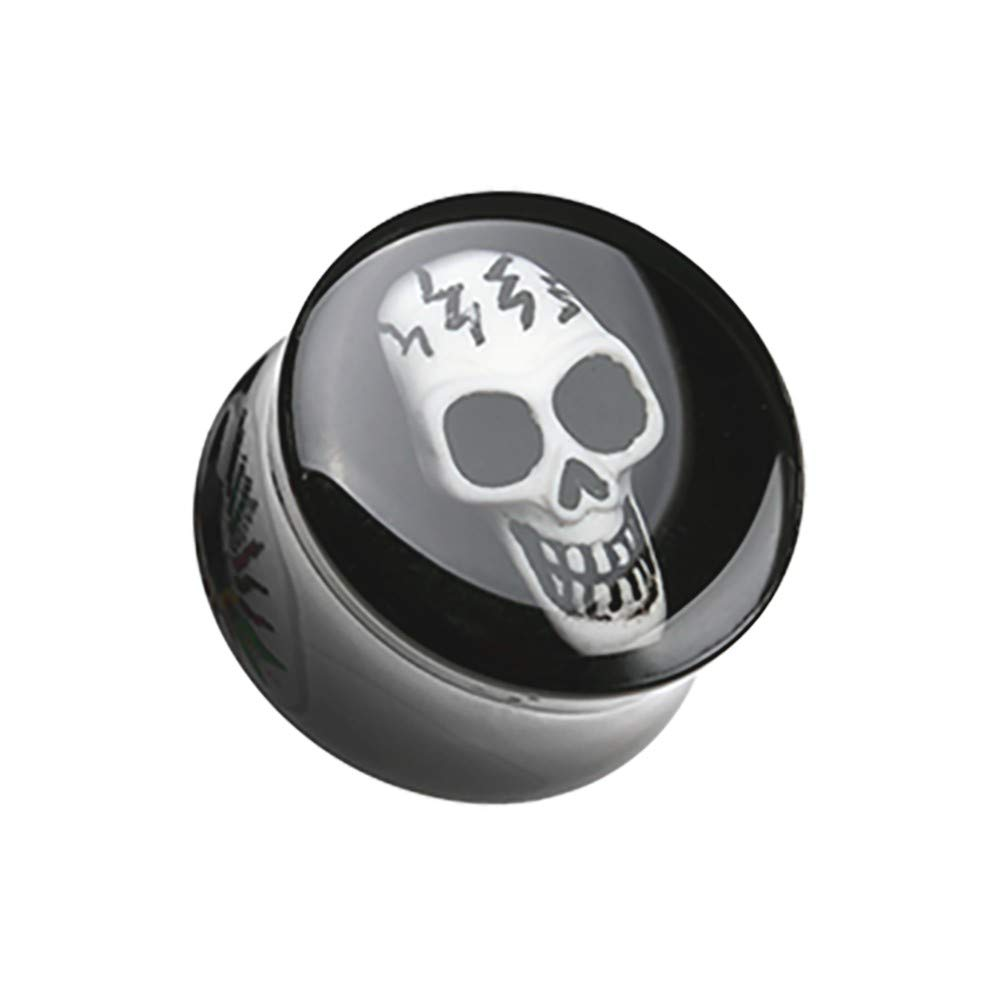 Multiple Sizes, Sold in Pairs Electro 3D Skull Resin Inlay Double Flared Ear Gauge Plug Davana Enterprises