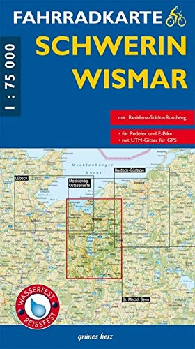 Fahrradkarte Schwerin, Wismar: Mit Residenz-Städte-Radweg. Maßstab 1:75.000. Wasser- und reißfest. (Fahrradkarten) Landkarte – Folded Map, 20. Juli 2018 Lutz Gebhardt grünes herz 3866360673 UA9783866360679