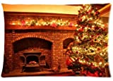 Fabulous Store Cutsom Rectangle Merry Christmas Eve Warm Fireplace Pillow Cases Covers Standard Size 20x30(one side)