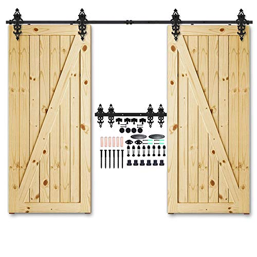 CCJH 12FT Heavy Duty Sliding Barn Wood Door Hardware Track Kit - Smoothly and Stable - Easy Installation - 12 Foot Rail Double Door Kit (Braided Style Hangers) ()