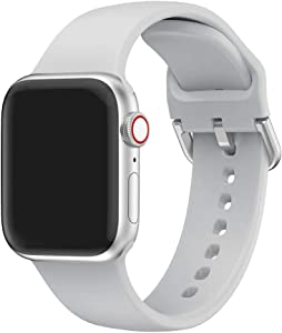 EOOZON Silicone Strap Compatible with Apple Watch Band 38/40mm 42/44mm Soft Silicone Sport Band Replacement Wrist Strap Compatible with iWatch Series 4/3/2/1 (Gray, 42mm/44mm)