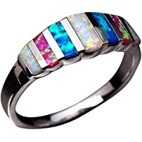 Haluoo Opal Ring for Women, Multicolor Rainbow Fire Opal Engagement Ring Silver Plated Lucky in Love Stone Gemstone…