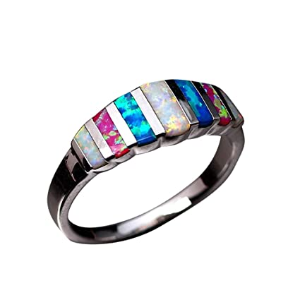 d2da83f29e1d54 Haluoo Opal Ring for Women, Multicolor Rainbow Fire Opal Engagement Ring  Silver Plated Lucky in Love Stone Gemstone Anniversary Ring Wedding Band  Gift, ...