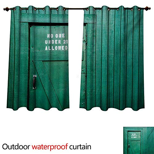 WilliamsDecor Teal Outdoor Ultraviolet Protective Curtains Monochrome Vintage Wooden Local Irish Pub Rustic Door with Warning Phrase Culture Photo W72 x L63(183cm x ()