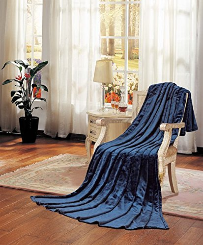 Comfy Deal Super Soft Micromink Sherpa Flannel Throw Blanket (King, Navy)