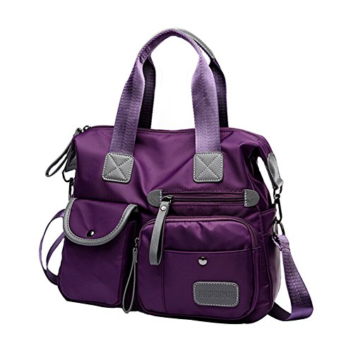 - Multifunctional Oxford Cloth Ladies Handbag High-Capacity Nylon Material Shoulder Bag Messenger Bag (Purple)