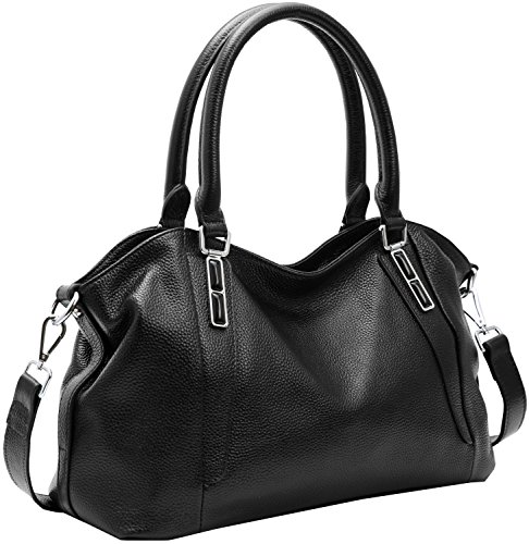 On Clearance! Big Sale! Iswee Women's Genuine Leather Handbag Urban Style Tote Top Handle Shoulder Bag Vintage Satchel Purse (Black-06) ()