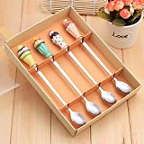 B&S FEEL Stainless Steel Coffee Spoon Ice Cream Spoon Long Ice Spoon with Resin Handle Tableware Wedding Gifts, Set of 4