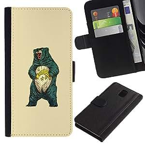 MobileX / Samsung Galaxy Note 3 III N9000 N9002 N9005 / Awesome Grizzly Bear / Cuero PU Delgado caso Billetera cubierta Shell Armor Funda Case Cover Wallet Credit Card