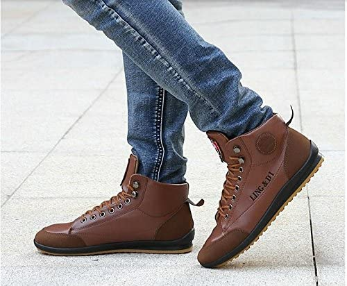 New Mens Leather Fashion Comfortable Boots Hot Cotton Ankle Lace Up Footwear Sneakers