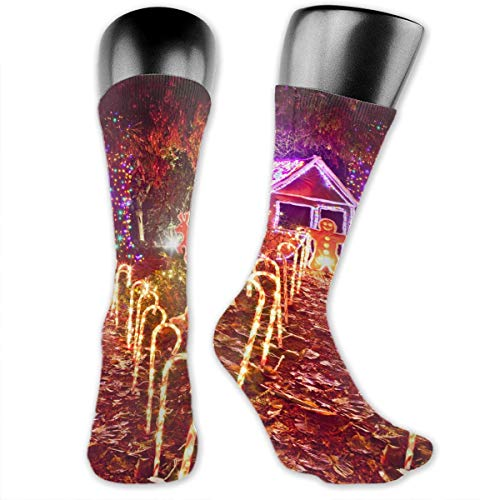 - OLGCZM Christmas Light Display of Gingerbread House Men Womens Thin High Ankle Casual Socks Fit Outdoor Hiking Trail