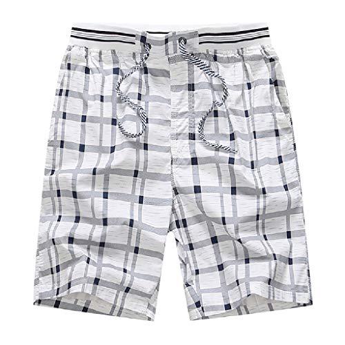 Kaniem Mens Beach Shorts,Casual Plaid Swim Shorts Swim Trunks Comfy Board Shorts Plus Size (XL, White)