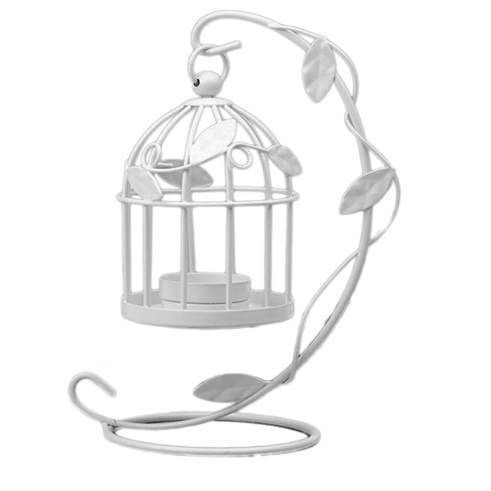 1xToruiwa Candle Holder Metal Hollow Out Hanging Birdcage-shape Tealight Candlestick Lanterns Craft for Home Ornaments Wedding Party Decoration White