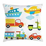 Ambesonne Boy's Throw Pillow Cushion Cover, Abstract Transportation Types for Toddlers Car Ship Truck Scooter Train Aeroplane, Decorative Square Accent Pillow Case, 16 X 16 Inches, Multicolor