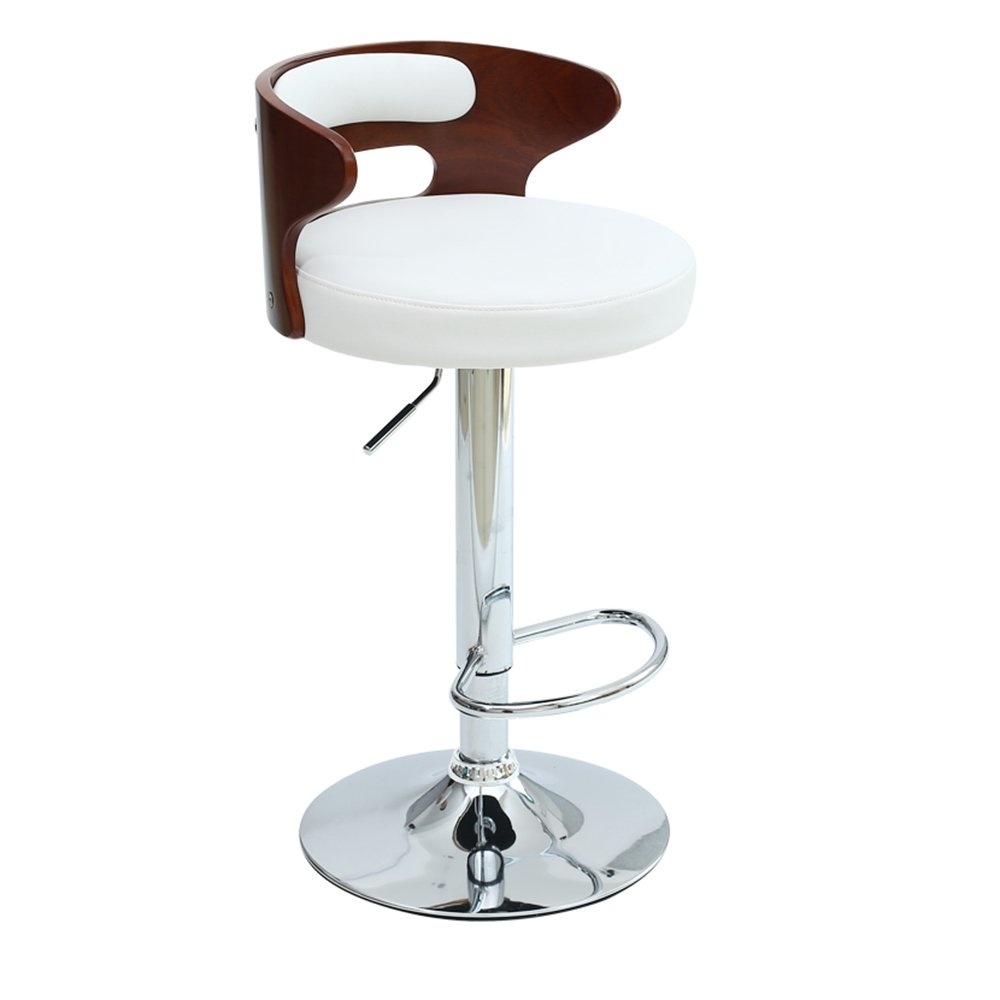 White MAZHONG Barstools Solid Wood Backrest Bar Stool High Stool Bar Front Desk Chair Lift Chair (color   White)