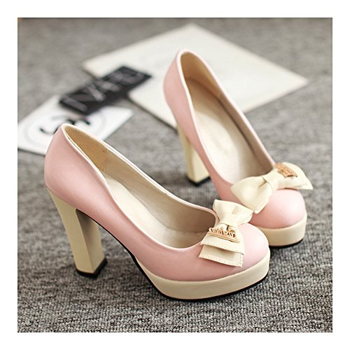 Chromatic Women pink Thin Color Shoes Heel Bowknot Thick High 6qEnff