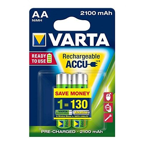355 opinioni per Varta ACCU Batteria Ricaricabile AA Stilo, 2100 mAh, Confezione da 2 Pezzi