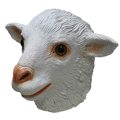 Ram Sheep Mask, Realistic White Animal Full Head Mask Halloween Fancy Dress Cosplay Party Adult Masquerade Costume ()