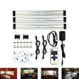 Under Cabinet Lighting, Wireless Remote Control, Mworld LED Dimmable Under Counter Lights for Kitchen, Shelf, Cupboard, 12W 900 Lumens, 3000K, 3 Pack - Warm White