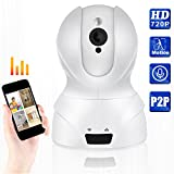 720P WIFI IP Security Camera Pan/Tilt Zoom Indoor Video Surveillance CCTV Camera, Plug/Play, with Two-Way Audio &Night Vision & Motion Detection (White)