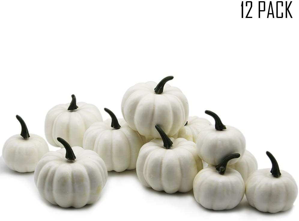 YOFIT 12 pcs Artificial Pumpkin Decoration, Fake Christmas Mini Pumpkins, Lifelike Simulation Foam Mini Pumpkins Set Thanksgiving Decorations (White)