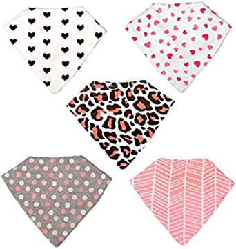 Perrassi Kids - Girls Bamboo Baby Bandana Bibs - 5 pack - Absorbent – Drool – Teething – Food – Dribble Bib, 100% Certified Organic Cotton - Funky and Cool Design - Perrassi Kids – Great for gifts